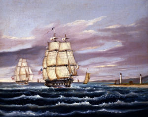 The US Frigate United States And The Captured HBM Frigate Macedonian Off Sandy Hook by Thomas Chambers