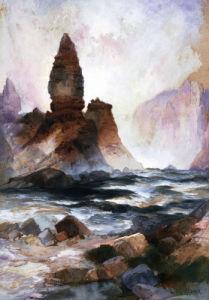 Tower Falls And Sulfur Rock, Yellowstone by Thomas Moran