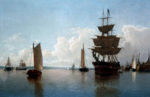 Ships At Harbor by William Bradford