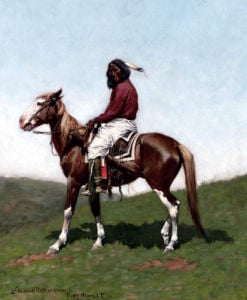 Comanche Brave, Fort Reno, Indian Territory by Frederic Remington