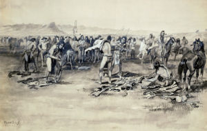 The Indians Slid From Their Ponies And Commenced Stripping Themselves by Charles Marion Russell