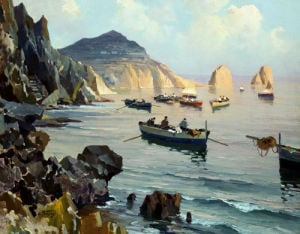 Boats In A Rocky Cove by Edward Henry Potthast