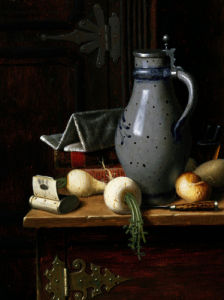 Still Life With Turnips And Beer Stein by William Michael Harnett