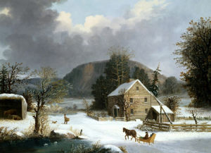 New England Farm By A Winter Road by George Henry Durrie