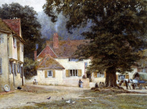A Cart By A Village Inn by Helen Allingham