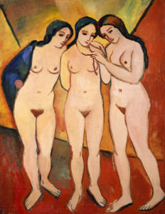 Three Nude Women (Red And Orange) by August Macke