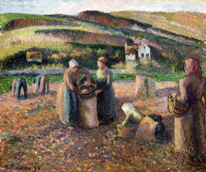 Picking Potatoes by Camille Pissarro