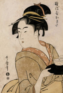 Portrait Of The Waitress Okita Of The Naniwaya Teahouse by Kitagawa Utamaro