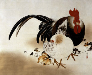 Cockerel, Hen And Chicks by Shibata Zeshin