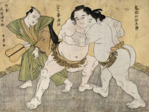 The Wrestling Match Between Kimenzan Tanigoro And Edogasaki Gemji by Katsukawa Shunsho