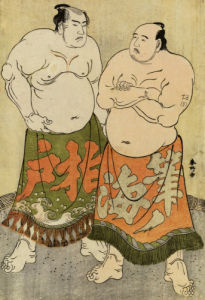 Portraits Of The Wrestlers Fudenoumi And Kashiwado by Katsukawa Shunsho
