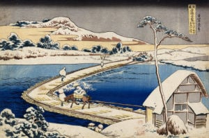 Pontoon Bridge At Sano, Kozuke Province, Ancient View by Christie's Images