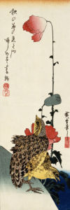 Quail And Wild Poppies by Ando Hiroshige