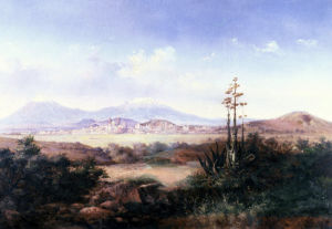 View Of The Pueblo With Volcanoes by Salvador Murillo