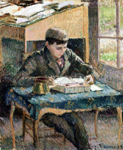 Portrait Of Rodo Reading by Camille Pissarro