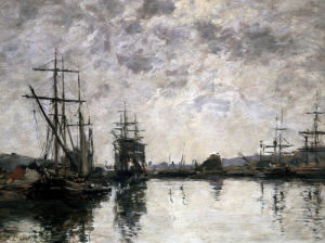 Deauville, Le Bassin by Eugene Louis Boudin
