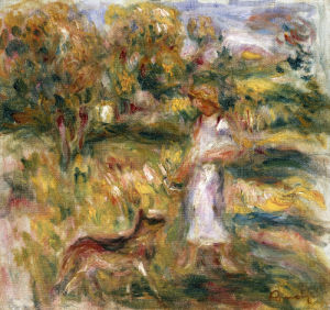 Landscape With Woman In Blue, Paysage Avec Femme En Bleu by Pierre Auguste Renoir