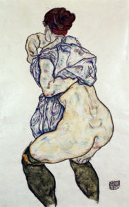 Mistress Halbakt With Green Stockings by Egon Schiele
