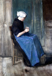 A Young Scheveningen Woman Knitting by Vincent Van Gogh