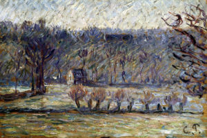 The Cow Pasture - Bazincourt (In Winter) by Camille Pissarro