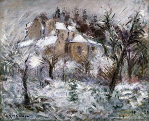 Houses At Pontoise Covered In Snow by Gustave Loiseau