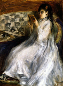 Woman In White Reading by Pierre Auguste Renoir