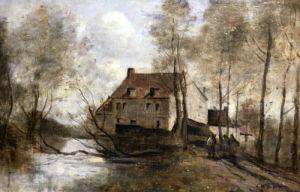 Le Moulin Brule, Planque, Near Douai by Jean-Baptiste-Camille Corot