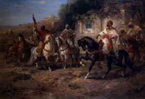 Arab Horsemen By A Fountain by Adolph Schreyer