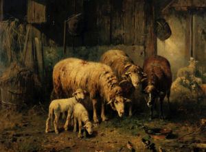 Sheep In A Barn by Otto Friedrich Gebler