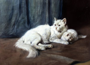 A White Persian Cat With Her Kittens by Arthur Heyer