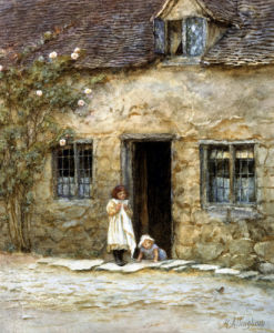At The Cottage Door by Helen Allingham