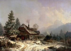 The Old Mill In Winter by Heinrich Burkel