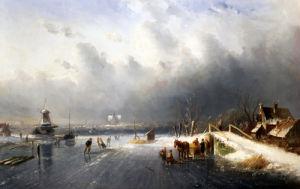 Skaters In A Frozen Winter Landscape by Charles Henri Joseph Leickert