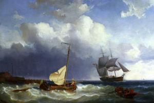 Fishing Vessels In Choppy Seas by Cornelis Christiaan Dommershuizen