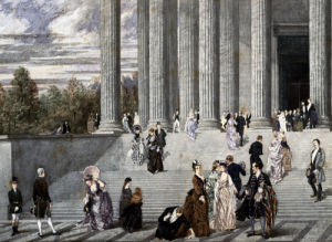 A Wedding Party On The Steps Of The Madeleine by Pierre Gavarni