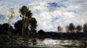The Heron Pond by Charles Francois Daubigry