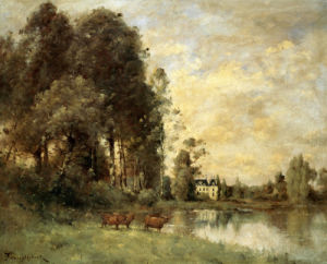 Cattle Watering By A Lake With A Chateau Beyond by Paul Desire Trouillebert