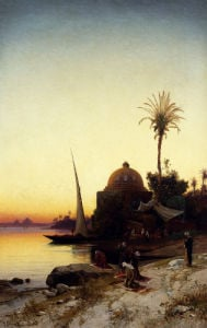 Arab Men Praying By The Nile At Sunset by Hermann-David-Salomon Corrodi