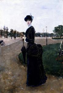 An Elegant Lady In The Bois De Boulogne by Norbert Goeneutte