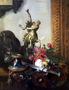 A Still Life With Bronze Statue, Assorted Flowers by Blaise Alexandre Desgoffe