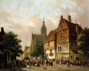 A Dutch Market Scene by Adrianus Eversen