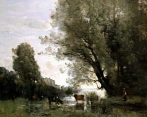 Pond's Edge In Normandy by Jean-Baptiste-Camille Corot