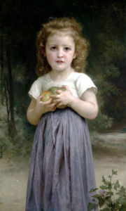Little Girl Clutching Apples by Adolphe William Bouguereau