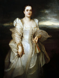 Portrait Of A Lady, Wearing A White Dress Embroidered With Pearls by Adolphe Joseph Thomas Monticelli