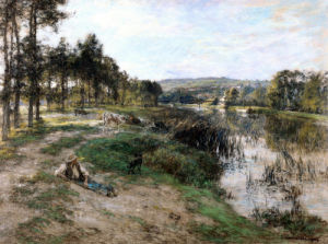 On The Banks Of The Marne by Leon Augustin L'Hermitte