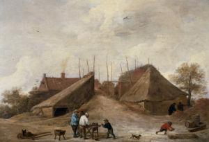 A Farm Yard With Figures Round A Table by Pierre Gavarni