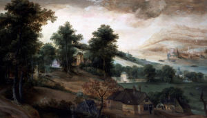 An Extensive Wooded Landscape, With Cottages In The Foreground by Jacob Grimmer
