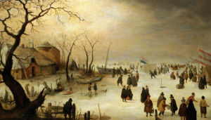 A Winter River Landscape With Figures On The Ice by Hendrik Avercamp