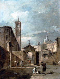 A Capriccio Of A Venetian Campo by Francesco Guardi