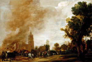 Soldiers Leaving A Burning Village by Aert Van Der Neer